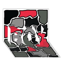 Black, gray and red abstraction BOY 3D Greeting Card (7x5)