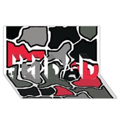 Black, gray and red abstraction #1 DAD 3D Greeting Card (8x4)