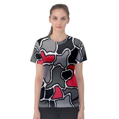 Black, gray and red abstraction Women s Sport Mesh Tee