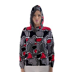 Black, gray and red abstraction Hooded Wind Breaker (Women)