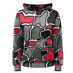 Black, gray and red abstraction Women s Pullover Hoodie
