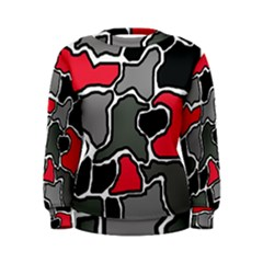 Black, gray and red abstraction Women s Sweatshirt