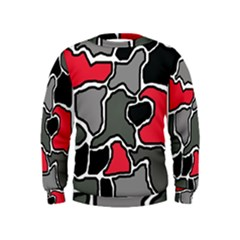 Black, gray and red abstraction Kids  Sweatshirt