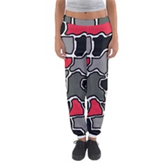 Black, gray and red abstraction Women s Jogger Sweatpants