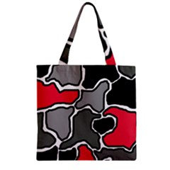Black, gray and red abstraction Zipper Grocery Tote Bag