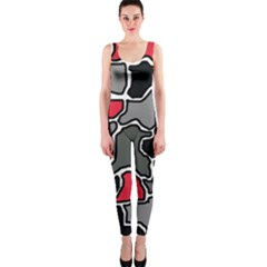 Black, gray and red abstraction OnePiece Catsuit