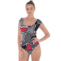 Black, gray and red abstraction Short Sleeve Leotard