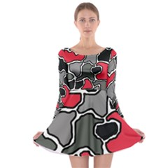 Black, gray and red abstraction Long Sleeve Skater Dress