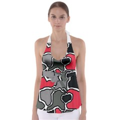 Black, Gray And Red Abstraction Babydoll Tankini Top