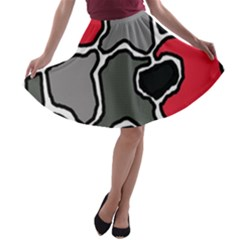 Black, gray and red abstraction A-line Skater Skirt