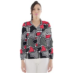 Black, gray and red abstraction Wind Breaker (Women)