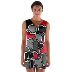Black, gray and red abstraction Wrap Front Bodycon Dress