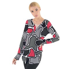 Black, gray and red abstraction Women s Tie Up Tee