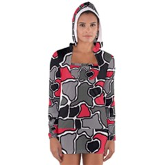 Black, gray and red abstraction Women s Long Sleeve Hooded T-shirt