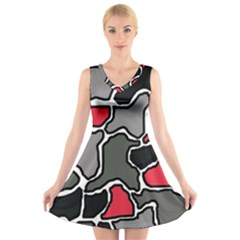 Black, gray and red abstraction V-Neck Sleeveless Skater Dress
