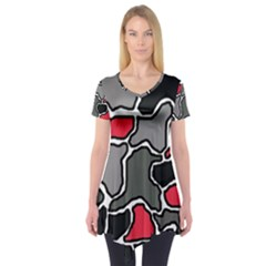 Black, gray and red abstraction Short Sleeve Tunic