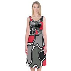 Black, gray and red abstraction Midi Sleeveless Dress