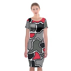 Black, gray and red abstraction Classic Short Sleeve Midi Dress