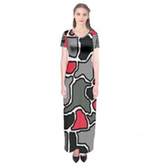 Black, gray and red abstraction Short Sleeve Maxi Dress