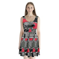 Black, Gray And Red Abstraction Split Back Mini Dress