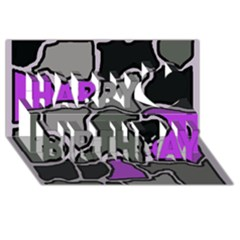 Purple and gray abstraction Happy Birthday 3D Greeting Card (8x4)