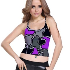 Purple and gray abstraction Spaghetti Strap Bra Top