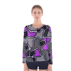 Purple and gray abstraction Women s Long Sleeve Tee