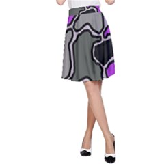 Purple and gray abstraction A-Line Skirt