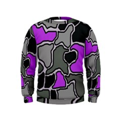 Purple and gray abstraction Kids  Sweatshirt