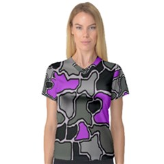 Purple and gray abstraction Women s V-Neck Sport Mesh Tee