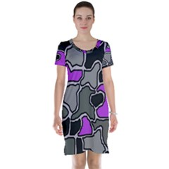 Purple and gray abstraction Short Sleeve Nightdress