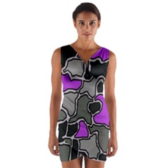 Purple and gray abstraction Wrap Front Bodycon Dress