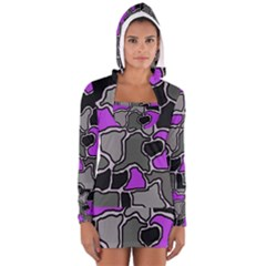 Purple And Gray Abstraction Women s Long Sleeve Hooded T Shirt