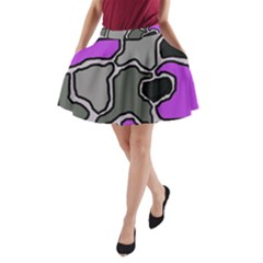 Purple And Gray Abstraction A Line Pocket Skirt