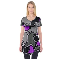 Purple and gray abstraction Short Sleeve Tunic