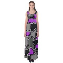 Purple and gray abstraction Empire Waist Maxi Dress