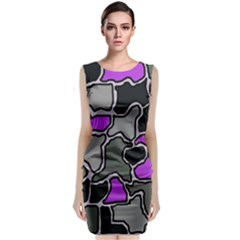 Purple and gray abstraction Classic Sleeveless Midi Dress