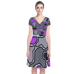 Purple And Gray Abstraction Short Sleeve Front Wrap Dress