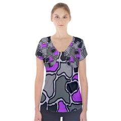 Purple and gray abstraction Short Sleeve Front Detail Top
