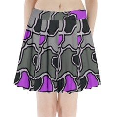 Purple and gray abstraction Pleated Mini Mesh Skirt