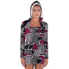 Decorative Abstraction Women s Long Sleeve Hooded T Shirt