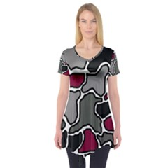 Decorative Abstraction Short Sleeve Tunic