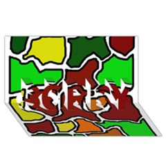 Africa abstraction SORRY 3D Greeting Card (8x4)