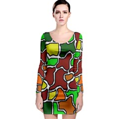 Africa abstraction Long Sleeve Bodycon Dress