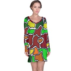 Africa abstraction Long Sleeve Nightdress