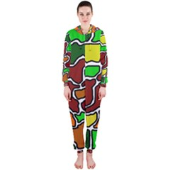 Africa abstraction Hooded Jumpsuit (Ladies)