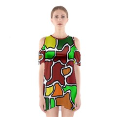 Africa abstraction Cutout Shoulder Dress