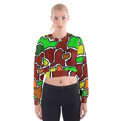 Africa abstraction Women s Cropped Sweatshirt