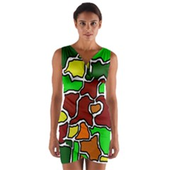 Africa Abstraction Wrap Front Bodycon Dress