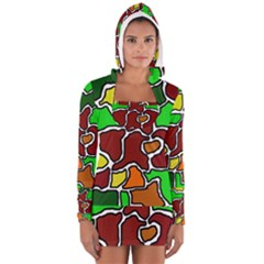 Africa Abstraction Women s Long Sleeve Hooded T Shirt